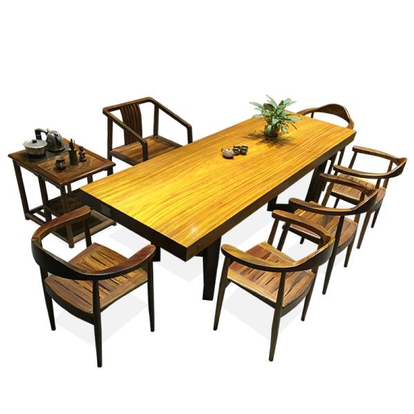 茶桌 实木奥坎花梨老板办公桌长方形 客厅巴花大板茶桌椅组合原木