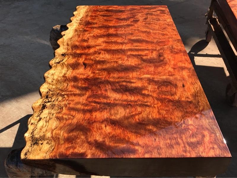 巴花大板桌茶桌实木办公桌椅组合自然边老板桌一块板整木