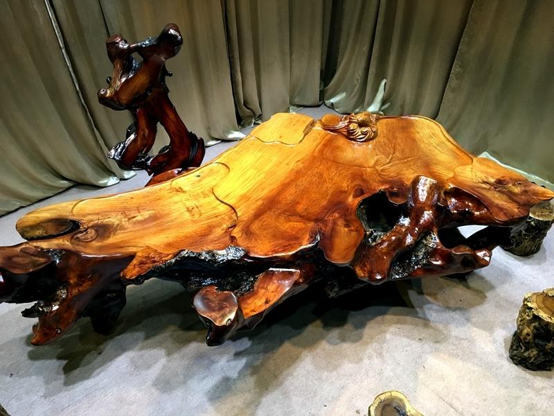 缅甸花梨根雕茶台树根整体茶艺功夫喝茶桌椅组合实木家用根雕茶几