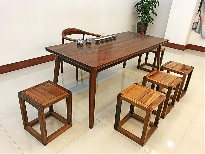 胡桃木整体组合休闲桌7件套烘干工艺1808074