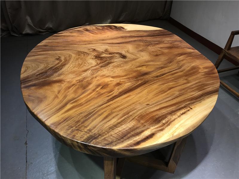胡桃木餐桌圆实木大板桌原木书桌茶桌椅组合不规则个性简约办公桌