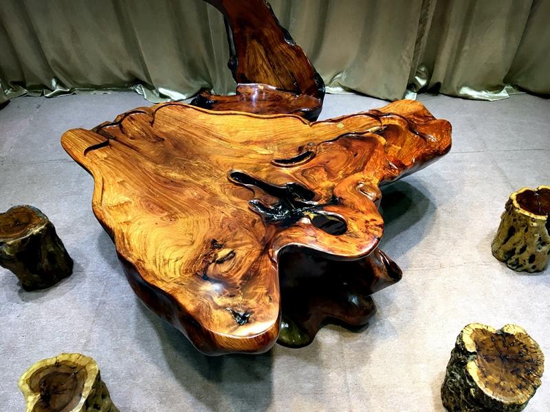 老挝花梨根雕茶台树根整体茶艺功夫喝茶桌椅组合实木家用根雕茶几