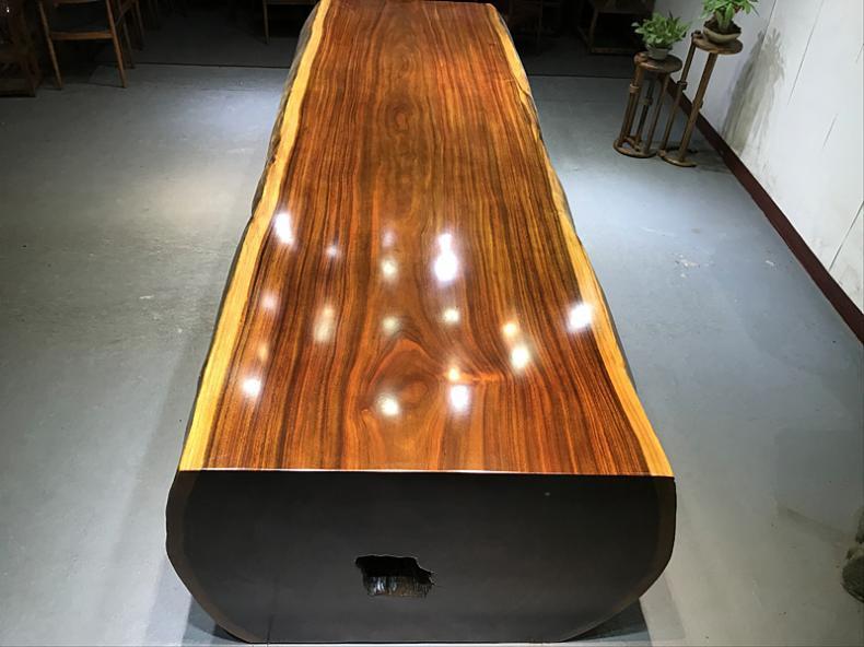 奥坎大板实木原木茶桌整块实木大板桌家用茶台整块茶板会