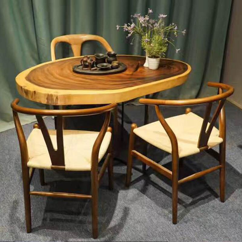 餐桌圆桌实木大板桌原木书桌茶桌椅组合不规则个性办公桌