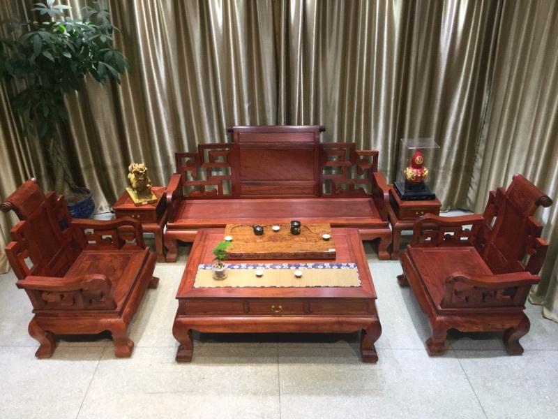 正宗大果紫檀缅花红木家具缅甸花梨木大富贵实木沙发新款