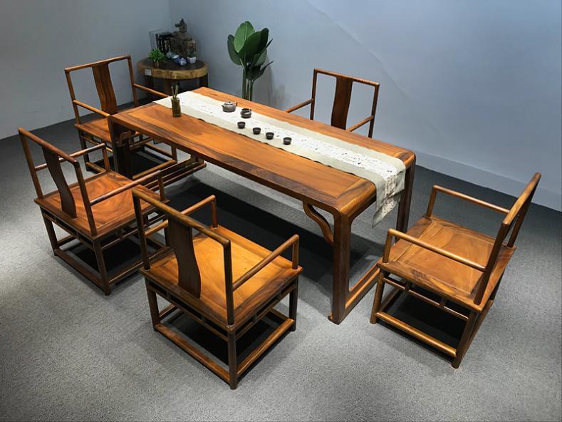 胡桃木实木茶桌椅组合洽谈接待禅意茶台原木家用新中式