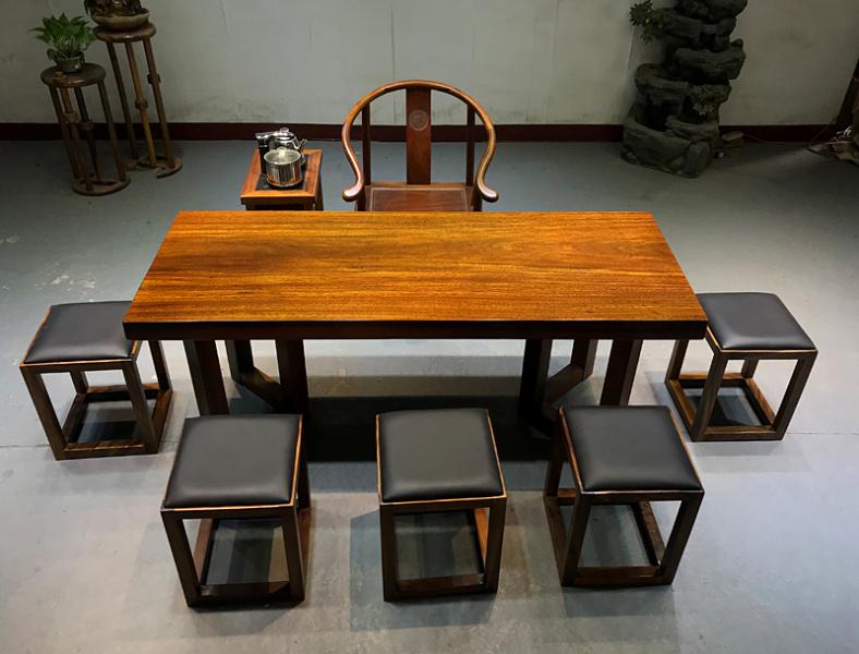 实木大板茶桌椅组合办公简约现代泡茶中式原木板材班台老板桌子