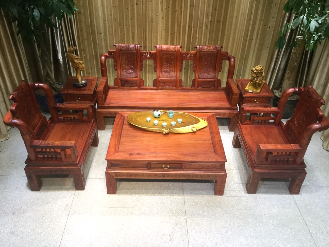 仿古红木缅甸花梨元宝大扶手沙发6件套大果紫檀红木家具沙发新品