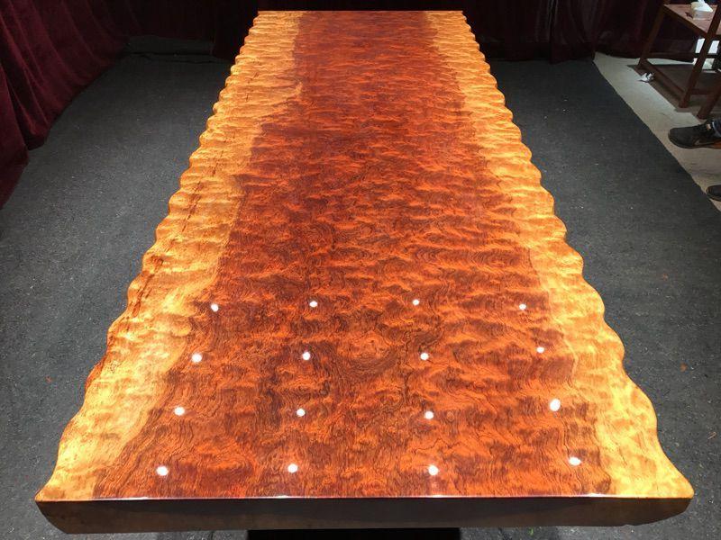 巴花实木大板桌原木家居餐桌老板商务办公桌老板喝茶桌台
