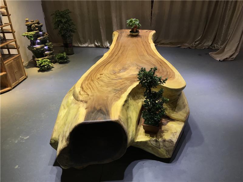 胡桃木实木大板整块不规则办公桌茶桌茶台老板桌原木台桌